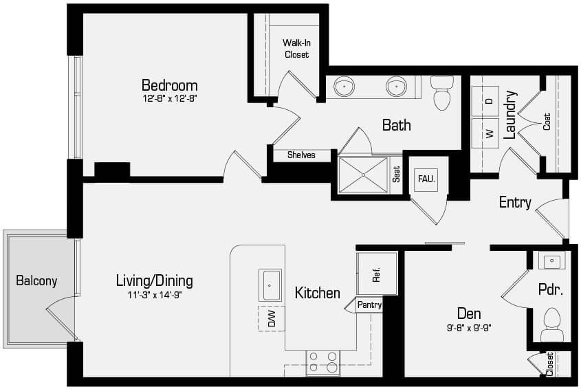 Plan A5 - 1 Bedroom + Den, 1.5 Bath