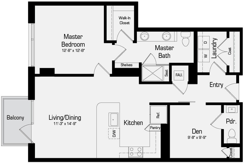 Plan A5 - 1 Bedroom + Den, 1.5 Bath
