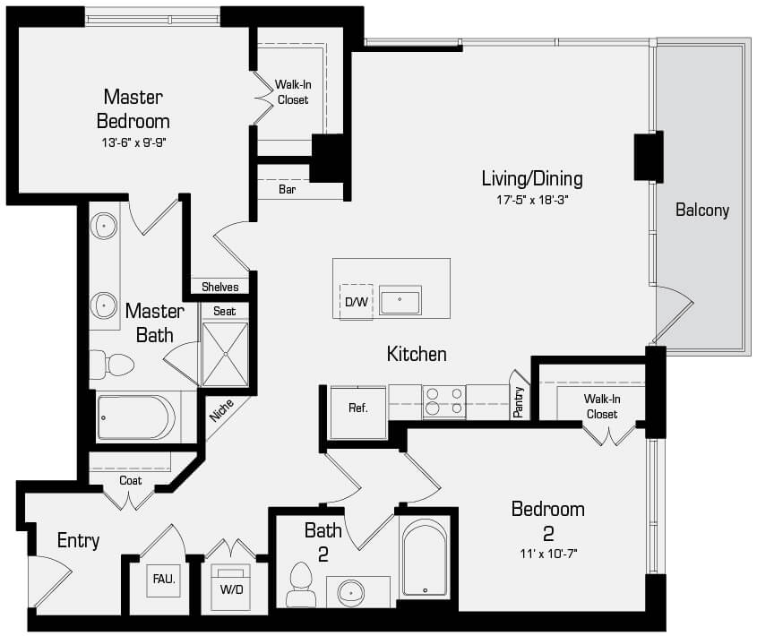 Plan B4 - 2 Bedroom, 2 Bath