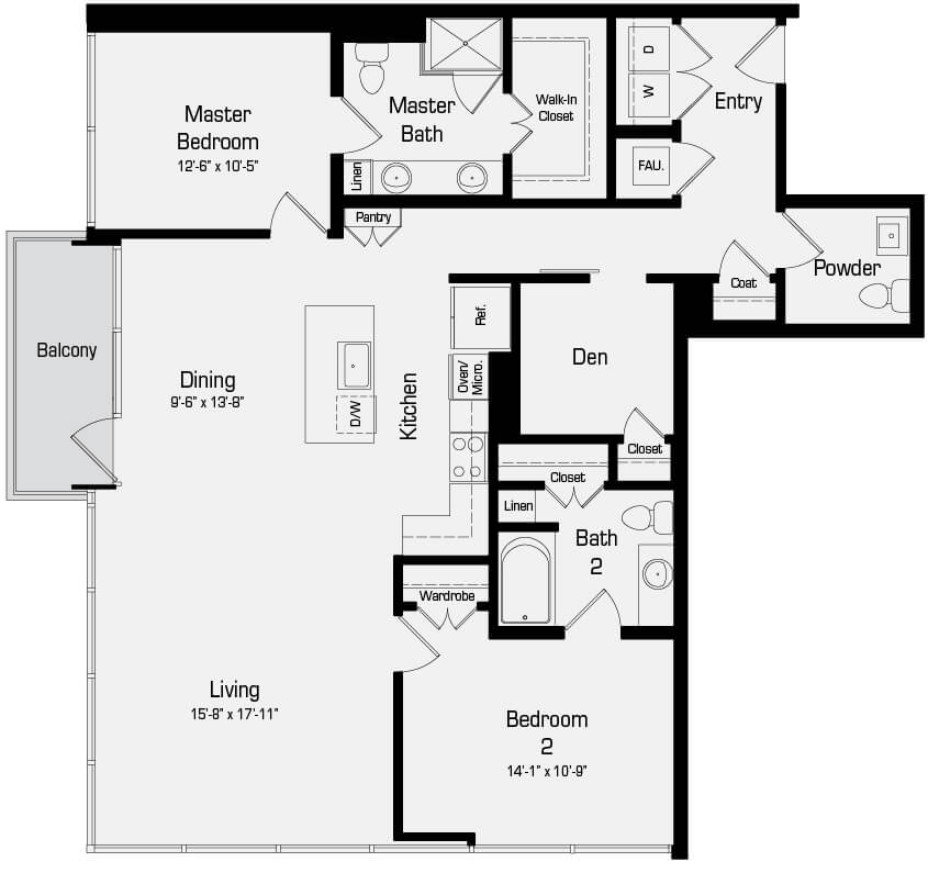 Plan B5 - 2 Bedroom + Den, 2.5 Bath