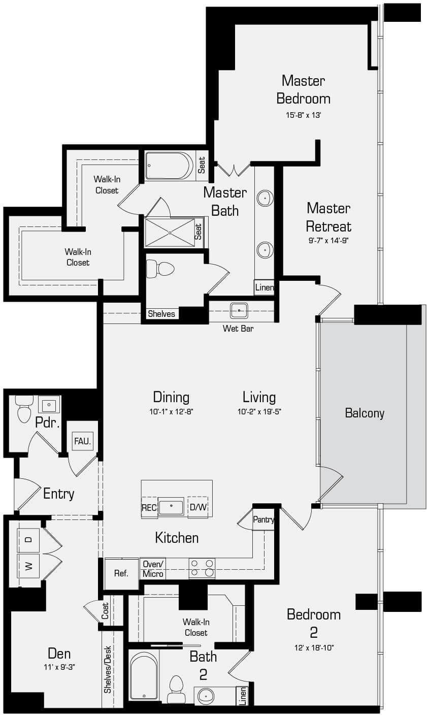 Plan P1 - 2 Bedroom Penthouse, 2.5 Bath