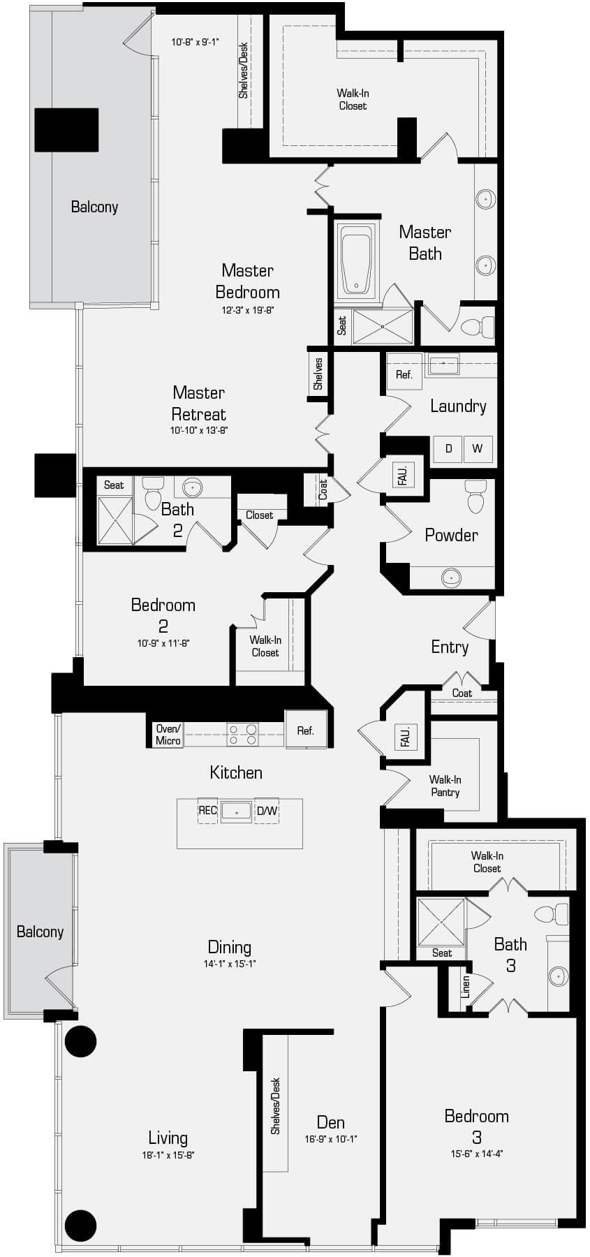Plan P4 - 3 Bedroom Penthouse, 3.5 Bath