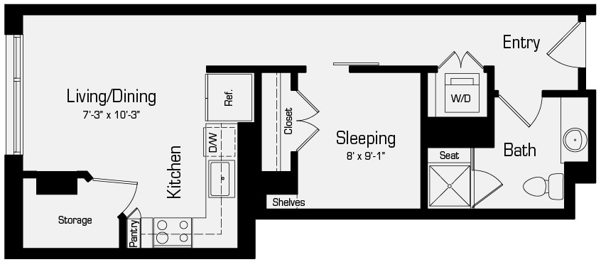 Plan S1 - Studio, 1 Bath