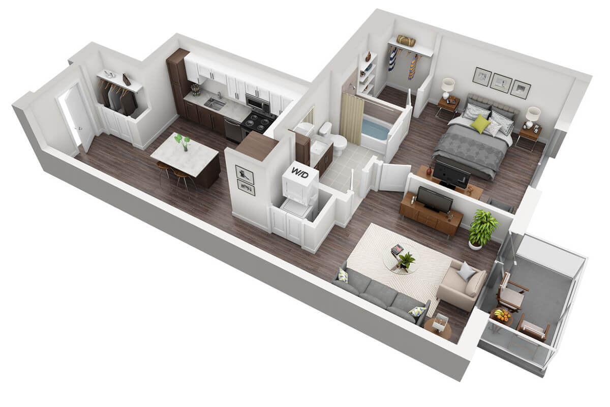 Plan A1 - 1 Bedroom, 1 Bath