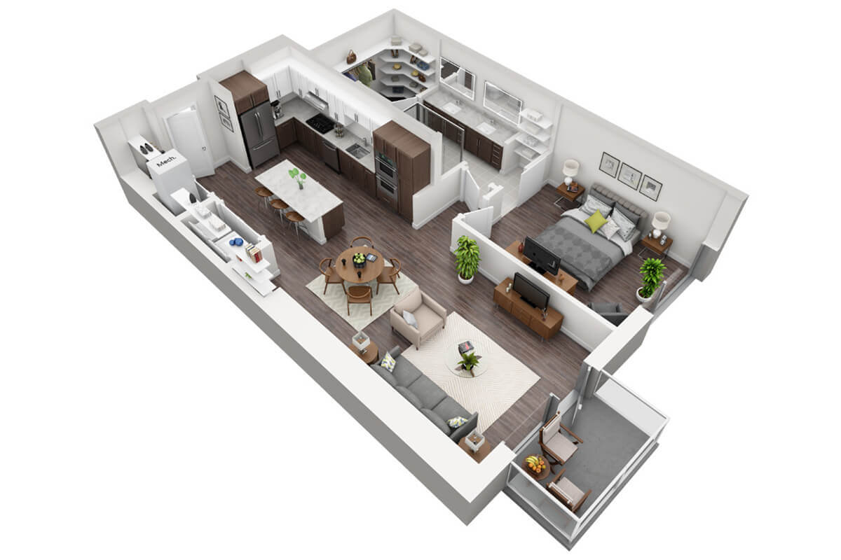 Plan A2 - 1 Bedroom, 1 Bath