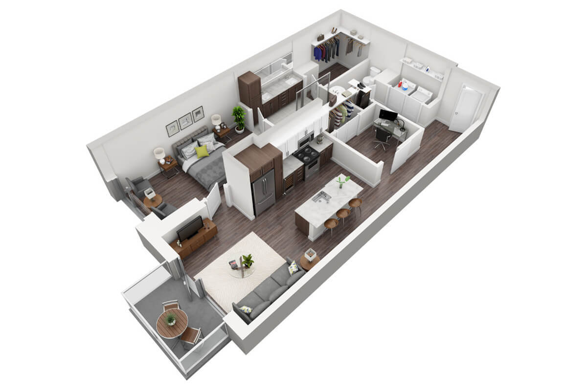 Plan A3 - 1 Bedroom + Den, 1.5 Bath
