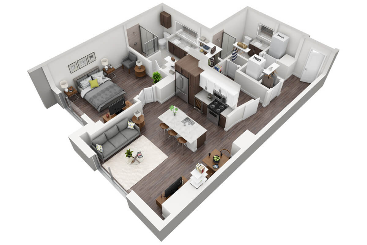 Plan A4 - 1 Bedroom + Den, 2 Bath