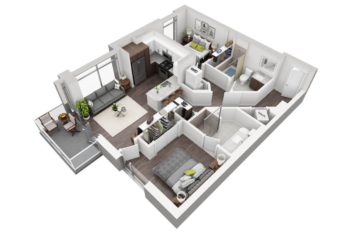 Plan B1 - 2 Bedroom, 2 Bath