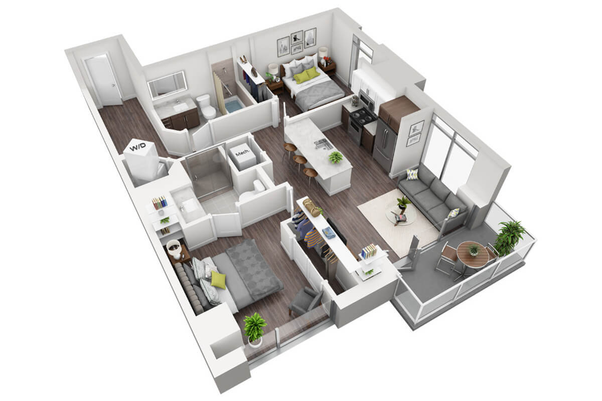 Plan B2 - 2 Bedroom, 2 Bath