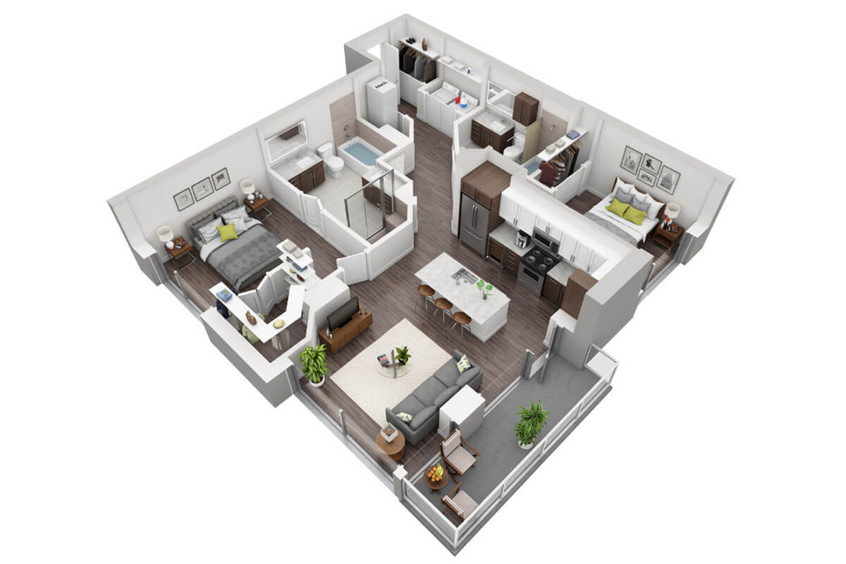 Plan B3 - 2 Bedroom, 2 Bath