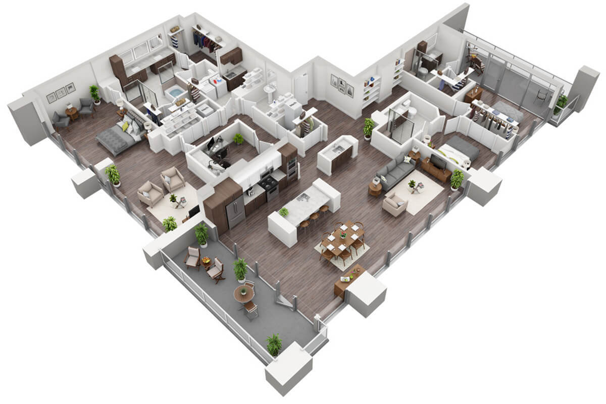 Plan P2 - 3 Bedroom Penthouse, 3.5 Bath