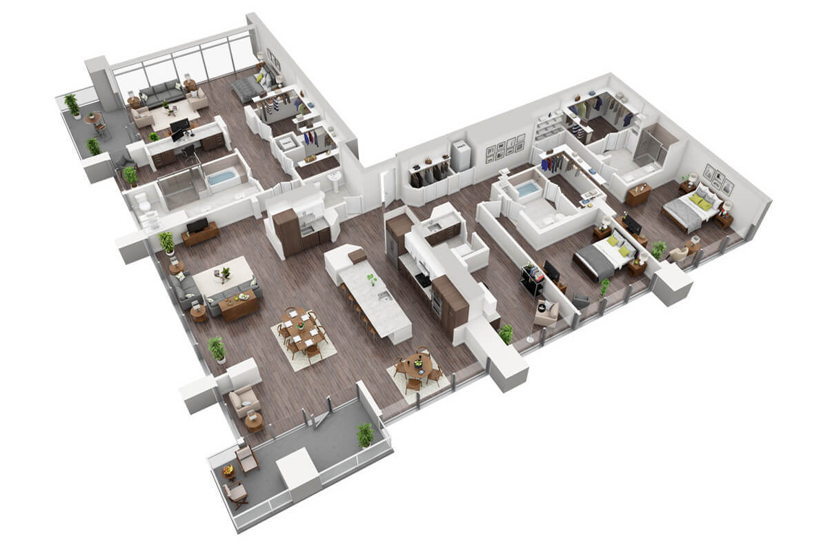Plan P3 - 3 Bedroom Penthouse, 3.5 Bath